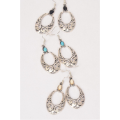 "Earrings Metal Antique Oval Western Like Semiprecious Stone/DZ **Fish Hook** Size-1.5""x 1.25"" Wide,4 Black,4 Ivory,4 Turquoise Asst,Earring Card & OPP Bag & UPC Code -"
