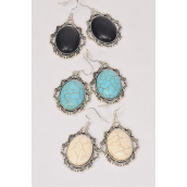 "Earrings Metal Antique Semiprecious Stone/DZ **Fish Hook** Size-1.5""x 1.25"" Wide,4 Black,4 Ivory,4 Turquoise Asst,Earring Card & OPP Bag & UPC Code -"