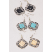 "Earrings Metal Antique Semiprecious Stone/DZ **Fish Hook** Size-1"" Wide,4 Black,4 Ivory,4 Turquoise Asst,Earring Card & OPP Bag & UPC Code -"