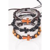 Bracelet Shamballa Sideways Cross 8 mm Wooden Beads/DZ **UNISEX** Adjustable,4 of each Color Assr,Hang Tag & OPP Bag & UPC Code