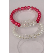"""Bracelet Silver 8 mm Glass Pearl Rhinestone Love Word/DZ **Stretch** Love Size-1""""x 0.5"""" Wide,6 of each Color Asst,Hang Tag & OPP bag & UPC Code"""