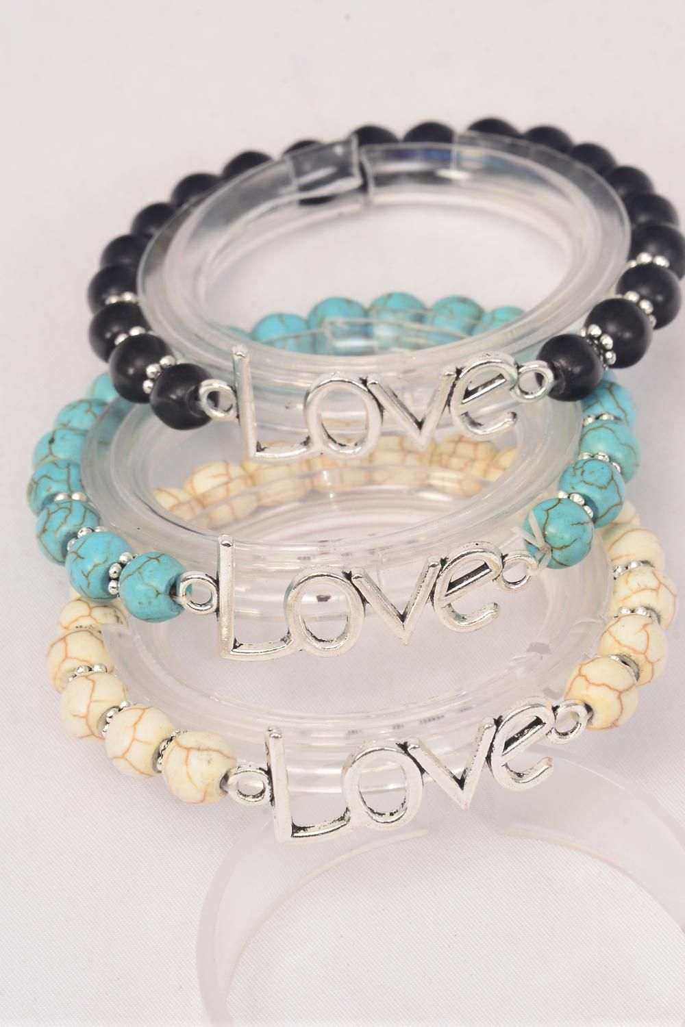 Bracelet Love Words Stretch 8 mm Semiprecious Stone/DZ **Stretch** 4 Black,4 Ivory,4 Turquoise Asst,Hang Tag & OPP Bag & UPC Code