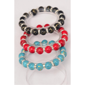 Bracelet 10 mm Poly Ball & Rhinestone Bezel All Around Stretch/DZ **Stretch** 4 Black,4 Turquoise,4 Red,3 Color Asst,Hang Tag & Opp Bag & UPC Code -