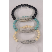 Bracelet Feather 8 mm Semiprecious Stone Stretch/DZ **Stretch**  4 Black,4 Beige,4 Turquoise Asst,Hang Tag & OPP Bag & UPC Code