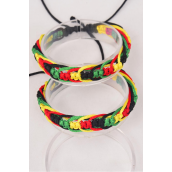 Bracelet Braided Rope Rasta/DZ **UNISEX** Adjustable,Hang Tag & OPP Bag & UPC Code