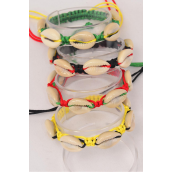 Bracelet Braided Rope Shell Rasta/DZ **UNISEX** Adjustable,3 of each Color Asst,Hang Tag & OPP Bag & UPC Code