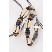 Bracelet Braided Rope Seashell Wooden Beads Browntone/DZ **UNISEX** Adjustable,4 of each Color Asst,Hang Tag & OPP Bag & UPC Code