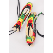 Bracelet Braided Rope Shell Rasta/DZ **UNISEX** Adjustable,Hang Tag & OPP Bag & UPC Code