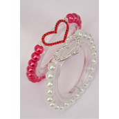"Bracelet 8 mm Glass Pearl Silver Rhinestone Heart/DZ **Stretch** Heart Size-1.25""x 1"" Wide, 6 of each Color Asst,Hang Tag & OPP bag & UPC Code -"