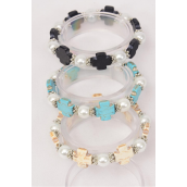 Bracelet 10 mm Pearl & Cross Semiprecious Stone Stretch/DZ **Stretch** 4 Black,4 Ivory,4 Turquoise,3 Color Asst,Hang Tag & Opp Bag & UPC Code