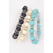 Bracelet 10 mm Semiprecious Stone & Bessel Stretch/DZ **Stretch** 4 Black,4 Ivory,4 Turquoise,3 Color Asst,Hang Tag & Opp Bag & UPC Code -