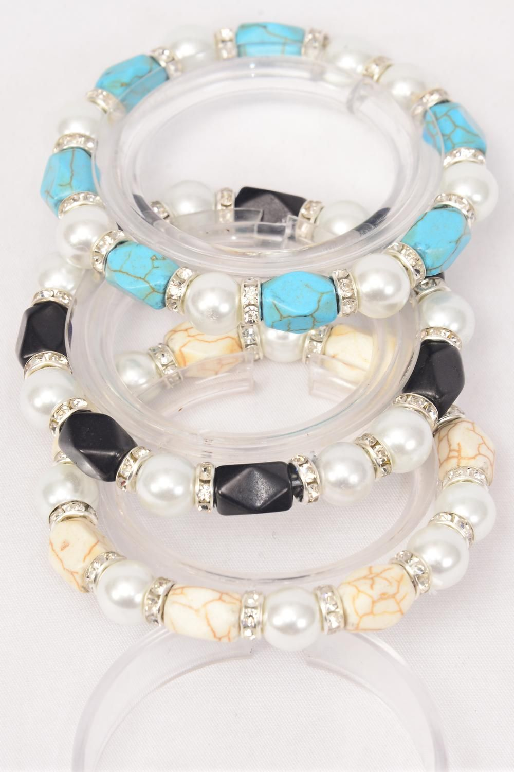 Bracelet 12 mm Glass Pearl & Semiprecious Stone & Rhinestone Bessel Mix Stretch/DZ **Stretch** 4 Ivory,4 Black,4 Turquoise Mix,Hang Tag & Opp Bag & UPC Code -