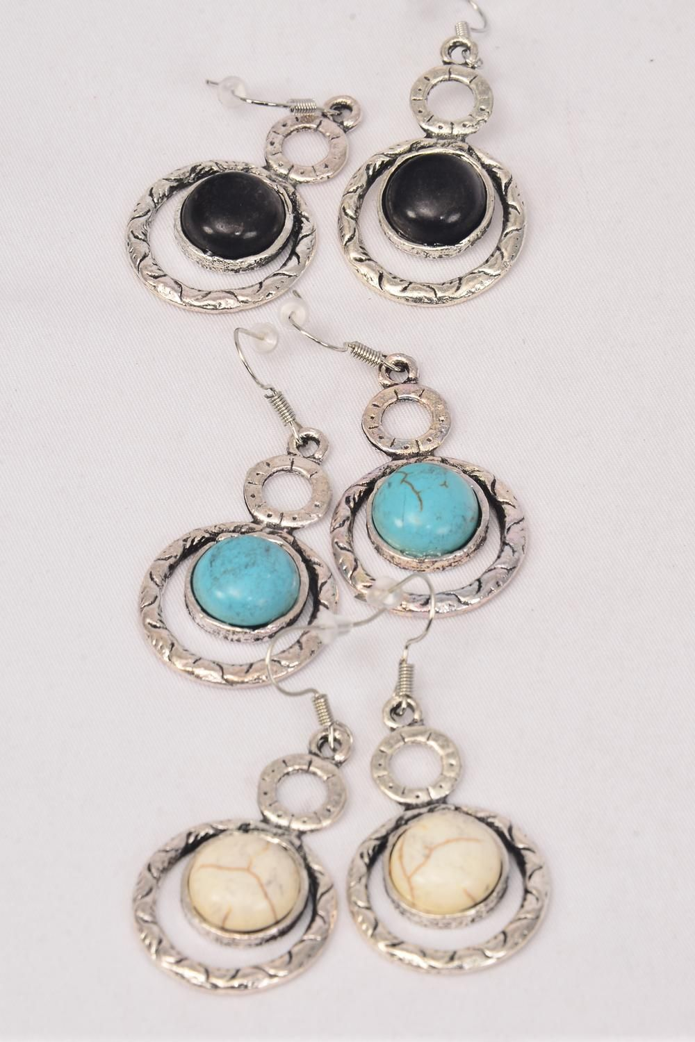 "Earrings Metal Antique Round Dangle Semiprecious Stone/DZ match 76010 **Fish Hook** Size-1.5""x 1"" Wide,4 Black,4 Ivory,4 Turquoise Asst,Earring Card & OPP Bag & UPC Code -"