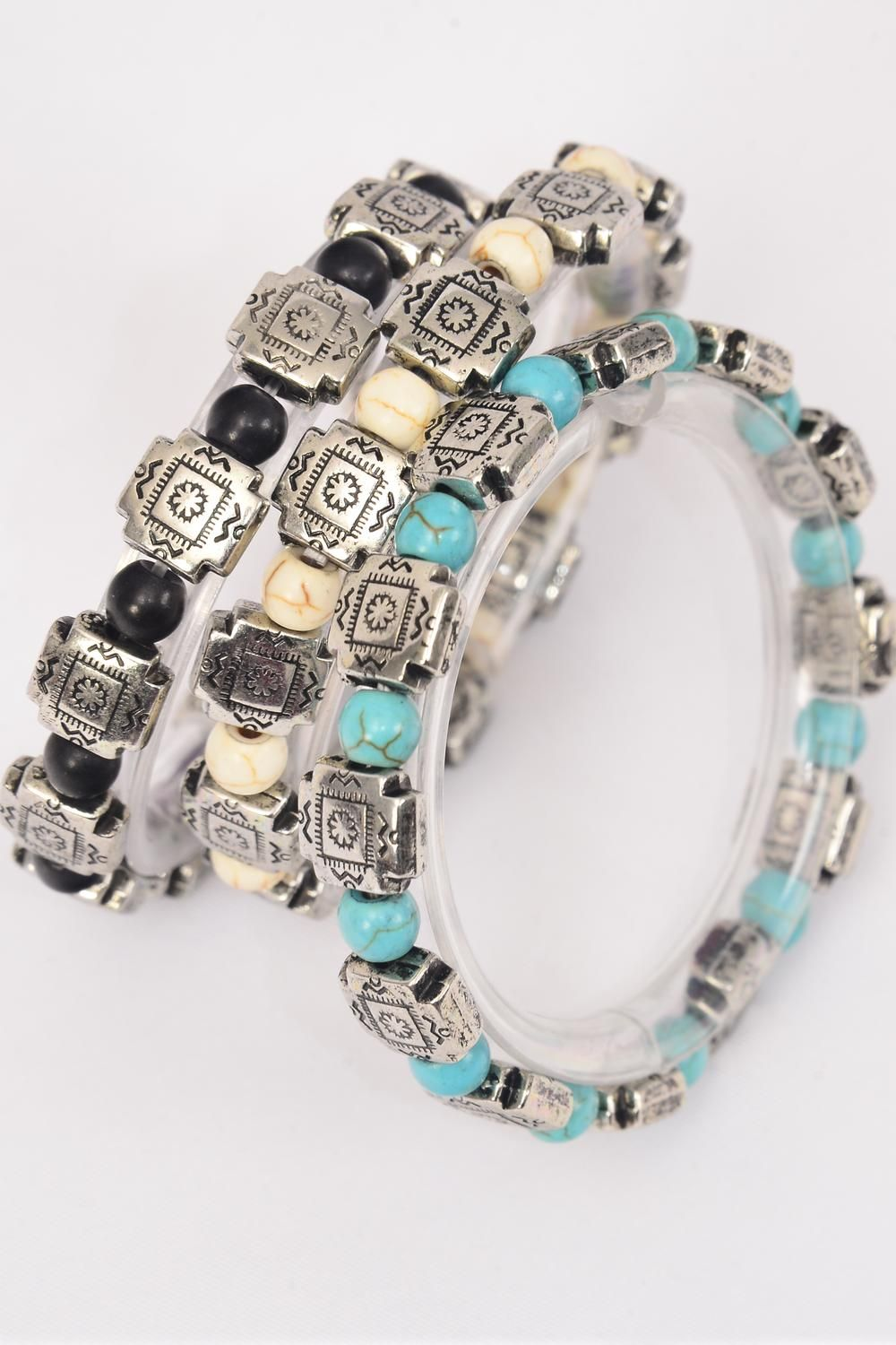Bracelet 4 mm Semiprecious Stone & Celtic Cross Aztec Stretch/DZ **Stretch** 4 Black,4 Ivory,4 Turquoise,3 Color Asst,Hang Tag & Opp Bag & UPC Code