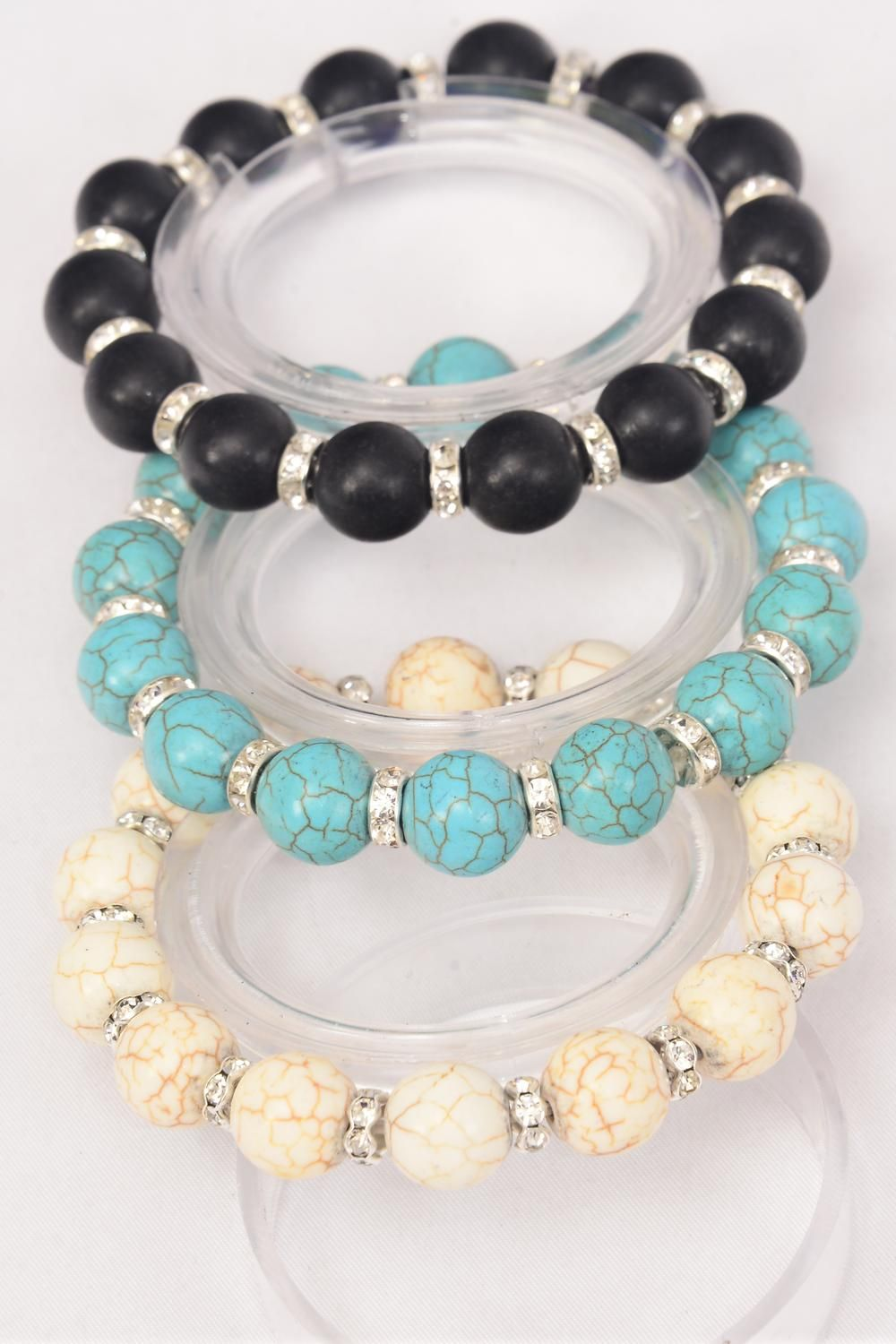 Bracelet 12 mm Semiprecious Stone & Rhinestone Bessel Stretch/DZ **Stretch** 4 Black,4 Ivory,4 Turquoise,3 Color Asst,Hang Tag & Opp Bag & UPC Code -