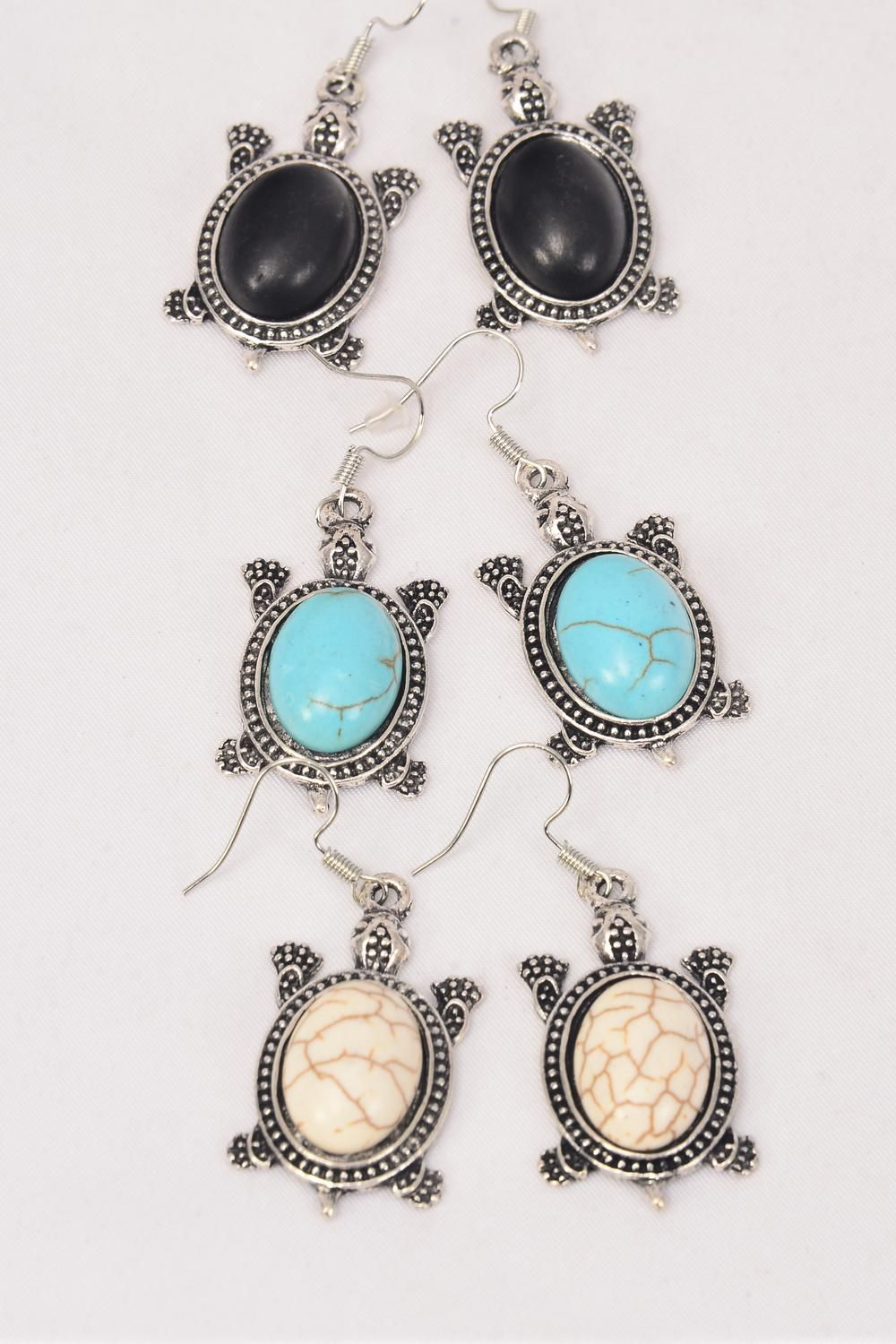 "Earrings Metal Antique Turtle Semiprecious Stone/DZ match 26094 **Fish Hook** Size-1.5""x 1"" Wide,4 Black,4 Ivory,4 Turquoise Asst,Earring Card & OPP Bag & UPC Code -"