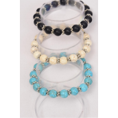 Bracelet Cross Semiprecious Stone & Silver Beads Stretch/DZ **Stretch** 4 Black,4 Ivory,4 Turquoise,4 of each Color Asst,Hang Tag & Opp Bag & UPC Code