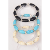 Bracelet Oval 12 mm Semiprecious Stone & Rhinestone Bessel Mix Stretch/DZ **Stretch** 4 Black,4 Ivory,4 Turquoise,3 Color Asst,Hang Tag & OPP Bag & UPC Code -