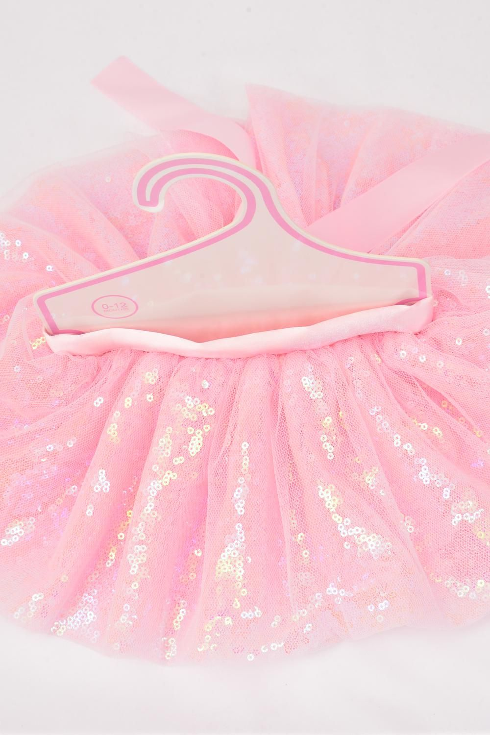 Tutu Dress Iridescent Sequin Baby Pink/PC **Baby Pink** Size-0-12month,Display Card & UPC Code