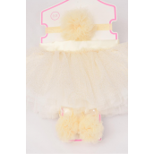 Tutu Pom Pom Theme 3 pcs Sets Beige/Sets **Beige** Size-0-12 month,Bow-3'',Shoe/Stretch,Display Card & UPC Code