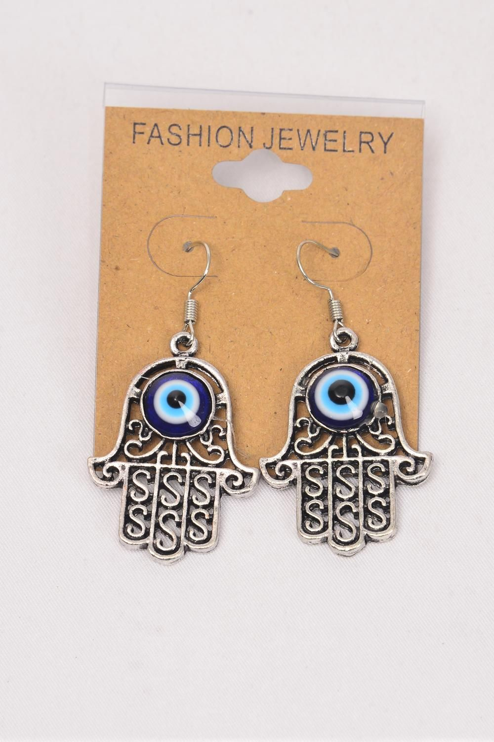"Earrings Metal Antique Evil Eye/DZ **Fish Hook** Size-1.25""x 1"" Wide,Earring Card & OPP Bag & UPC Code"