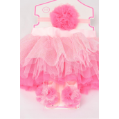 Tutu Pom Pom Theme 3 pcs Sets Pink/Sets **Pink** Size-0-12 month,Bow-3'',Shoe/Stretch,Display Card & UPC Code