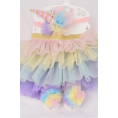 "Tutu Cake Dress Unicorn Theme 3 pcs Sets Pastel/Sets **Pastel** Size-0-24 month,Unicorn-5""x 2"",Shoe/Stretch,Display Card & UPC Code"