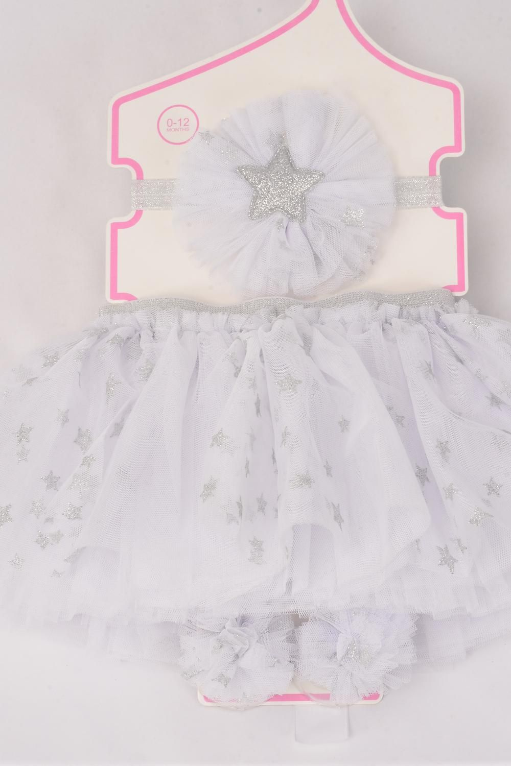 Tutu Stars Dust Theme 3 pcs Sets White/Sets **White** Size-0-12 month,Bow-3'',Shoe/Stretch,Display Card & UPC Code