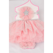Tutu Star Dust Theme 3 pcs Sets Pink/Sets **Pink** Size-0-12 month,Bow-3'',Shoe/Stretch,Display Card & UPC Code