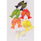 "Earrings Wood Contemporary Fish Color Asst/DZ **Fish Hook** Size-1.75""x 1.25"" Wide,2 of each Color Asst,Earring Card & OPP Bag & UPC Code -"
