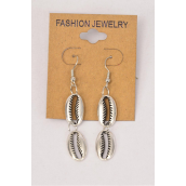 "Earrings Silver Antique Seashells Dangle /DZ **Fish Hook** Size-1.5"" Long,Earring Card & OPP Bag & UPC Code"