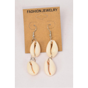 "Earrings Real Seashells Dangle /DZ **Fish Hook** Size-2"" Long,Earring Card & OPP Bag & UPC Code"