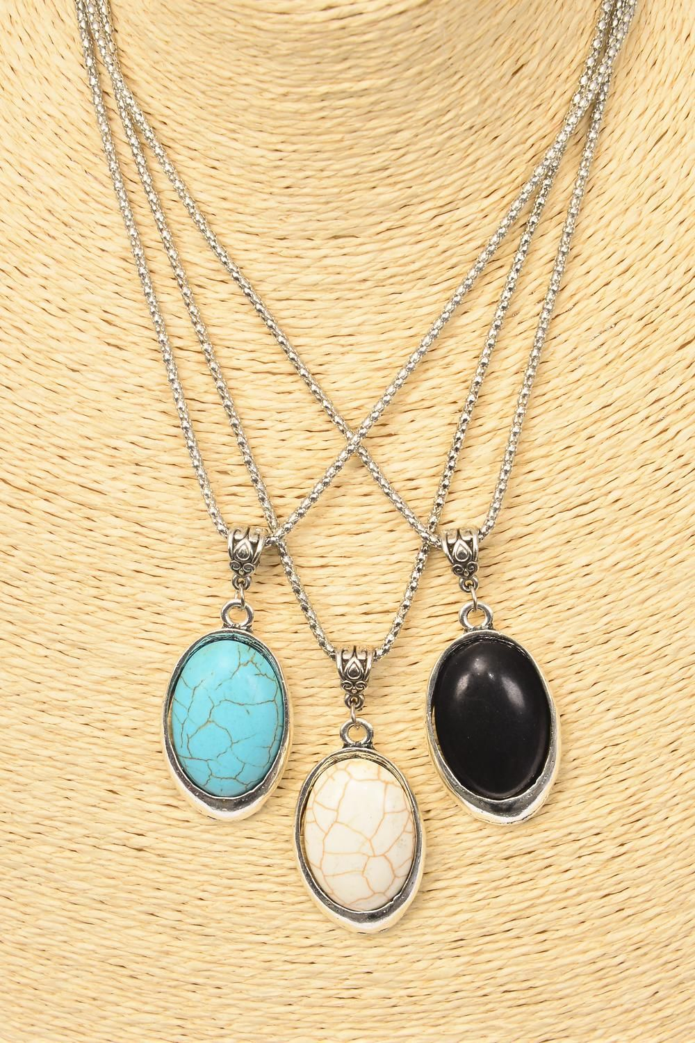 "Necklace Silver Chain Metal Oval Antique Round Semiprecious Stone/DZ match 02970 Pendant-1.75"" x 1.25"" Wide,Chain-18"" Extension Chain,4 Ivory,4 Black,4 Turquoise Asst,Hang Tag & OPP Bag & UPC Code"