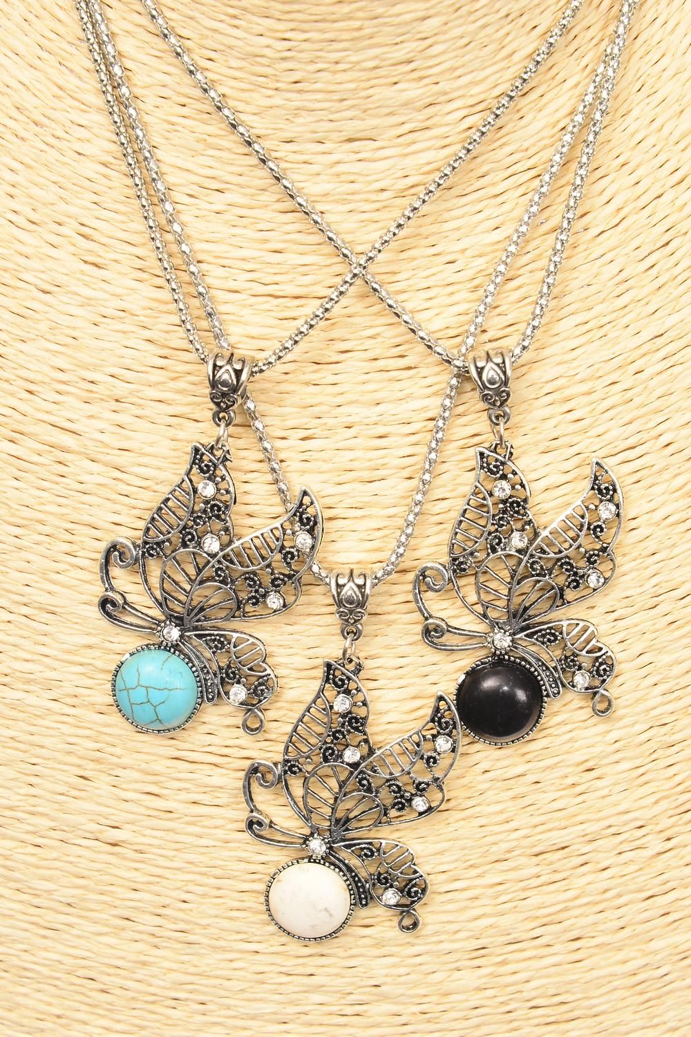 "Necklace Silver Chain Butterfly Semiprecious/DZ Pendant-2"" x 1.25"" Wide,Chain-18"" Extension Chain,4 Ivory,4 Black,4 Turquoise Asst,Hang Tag & OPP Bag & UPC Code"