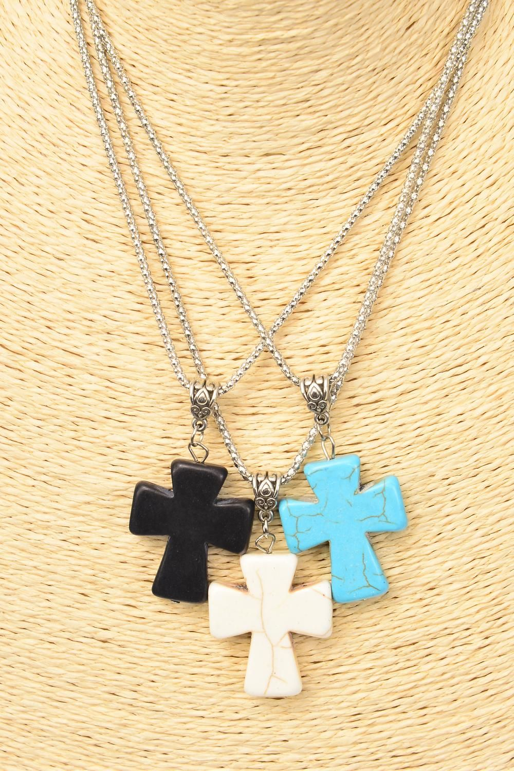 "Necklace Silver Chain Metal Antique Cross Semiprecious Stone/DZ match 03129 Pendant-1.5"" x 1.25."" Wide,Chain-18"" Extension Chain,4 Ivory,4 Black,4 Turquoise Asst,Hang Tag & OPP Bag & UPC Code"