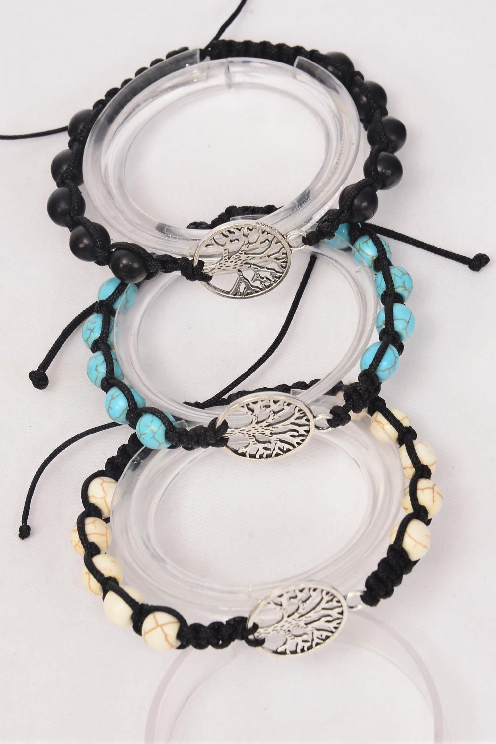 Bracelet Braided Rope Tree Of Life 8 mm Semiprecious Stone/DZ **Adjustable** 4 Black,4 Ivory,4 Turquoise Asst,Hang Tag & OPP Bag & UPC Code