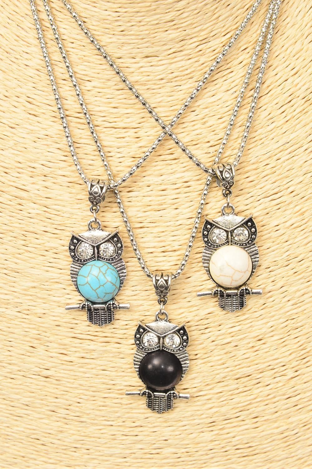 "Necklace Silver Chain Owl Semiprecious Stone/DZ match 02660 Pendant-1.5""x 1"" Wide,Chain-18"" Extension Chain,4 Ivory,4 Black,4 Turquoise Asst,Hang Tag & OPP Bag & UPC Code"