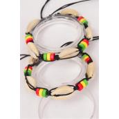 Bracelet Shamballa Seashell Wooden Beads Multi/DZ **UNISEX** Adjustable,4 of each Color Asst,Hang Tag & OPP Bag & UPC Code