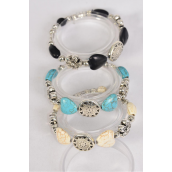 Bracelet Heart & Aztec Semiprecious Stone & Flower Stretch/DZ **Stretch** 4 Black,4 Ivory,4 Turquoise,3 Color Asst,Hang Tag & Opp Bag & UPC Code -