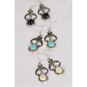 "Earrings Metal Antique Semiprecious Stone/DZ **Fish Hook** Size-1.25""x 1"" Wide,4 Black,4 Ivory,4 Turquoise Asst,Earring Card & OPP Bag & UPC Code -"