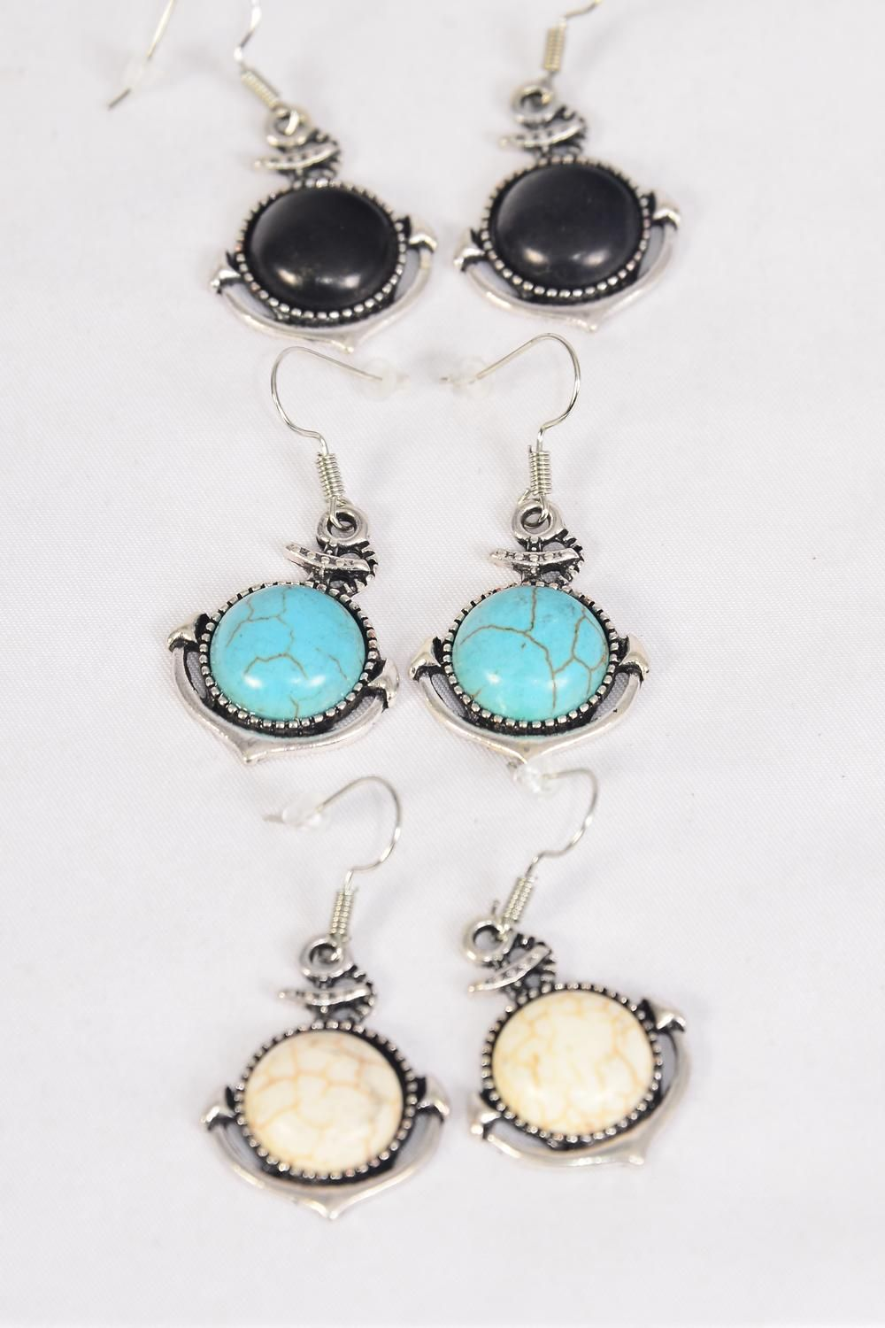 "Earrings Metal Antique Anchor Real Semiprecious Stone/DZ **Fish Hook** Size-1""x 1"" Wide,4 Black,4 Ivory,4 Turquoise Asst,Earring Card & OPP Bag & UPC Code -"