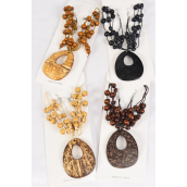 "Necklace Sets Large Teardrop Coconut Shell Beads/dz Pendant Size-2.75"" x 2.5"" Wide,18"" Long,3 of each Color Asst,Display Card & OPP Bag & UPC Code"