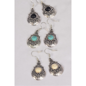 "Earrings Metal Antique Aztec Semiprecious Stone/DZ **Fish Hook** Size-1.25""x 1"" Wide,4 Black,4 Ivory,4 Turquoise Asst,Earring Card & OPP Bag & UPC Code -"
