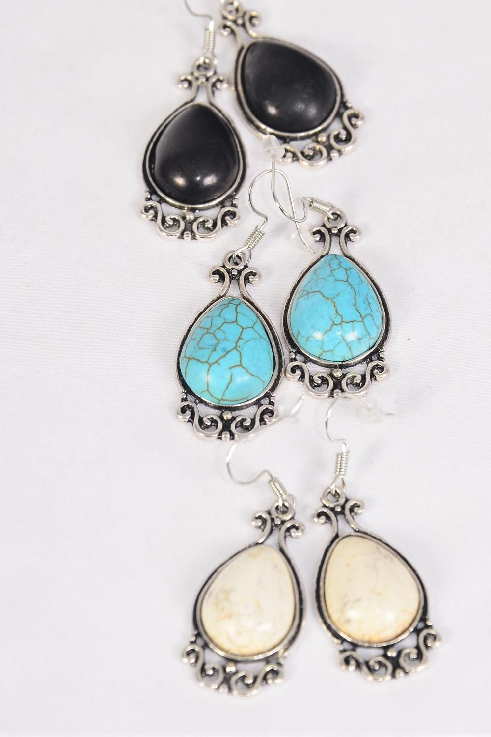 "Earrings Metal Antique Teardrop Dangle Semiprecious Stone/DZ **Fish Hook** Size-1.5""x 0.75"" Wide,4 Black,4 Ivory,4 Turquoise Asst,Earring Card & OPP Bag & UPC Code -"