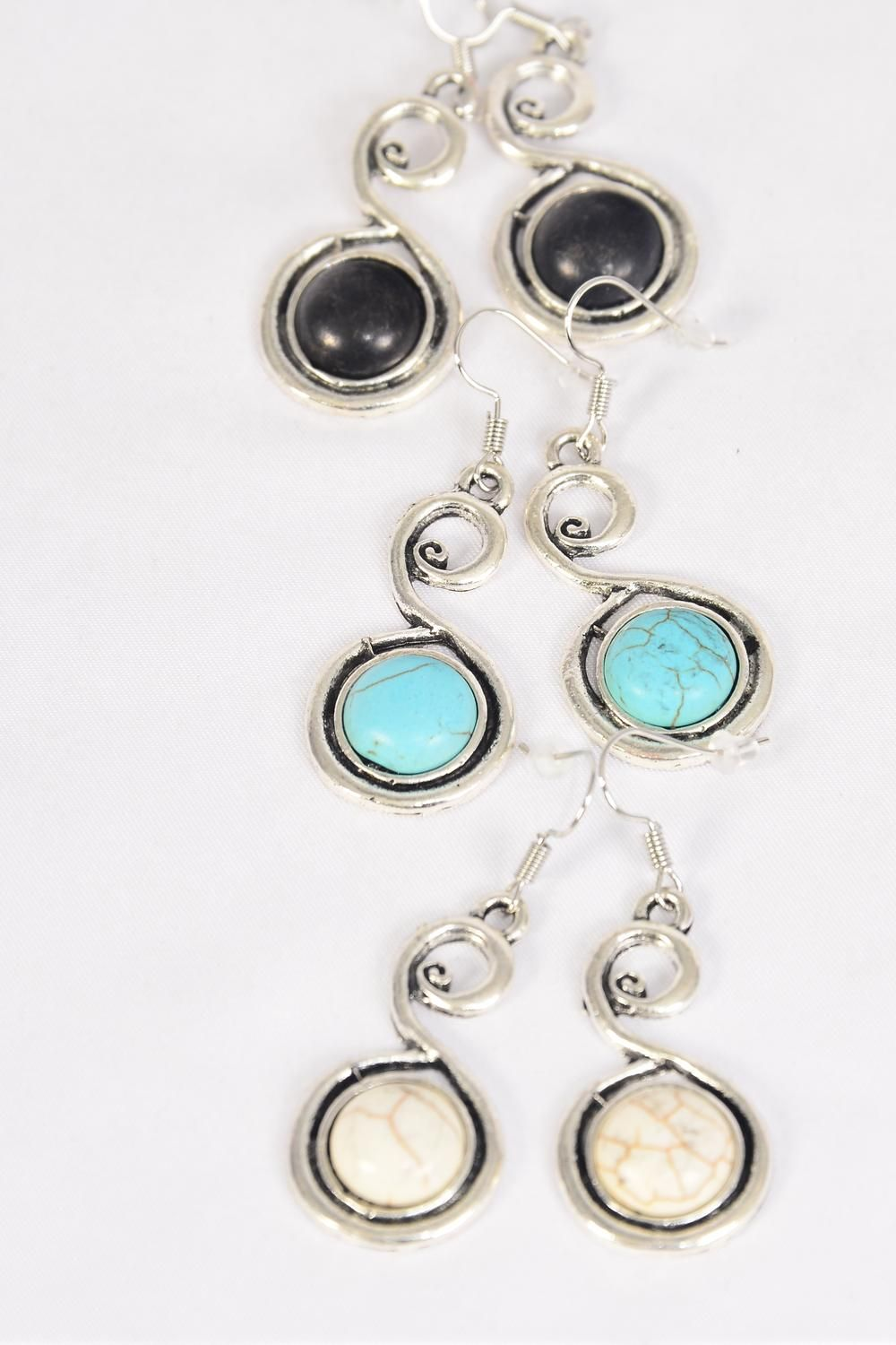 "Earrings Metal Antique Round Dangle Semiprecious Stone/DZ match 76015 **Fish Hook** Size-1.5""x 1"" Wide,4 Black,4 Ivory,4 Turquoise Asst,Earring Card & OPP Bag & UPC Code -"