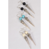 "Earrings Metal Antique Aztec Semiprecious Stone/DZ **Fish Hook** Size-1.75""x  0.5"" Wide,4 Black,4 Ivory,4 Turquoise Asst,Earring Card & OPP Bag & UPC Code -"