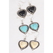 "Earrings Metal Antique Heart Semiprecious Stone/DZ **Fish Hook** Size-1""x 1"" Wide,4 Black,4 Ivory,4 Turquoise Asst,Earring Card & OPP Bag & UPC Code"
