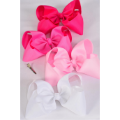 "Hair Bow Cheer Type Bow Pink Mix Alligator Clip Grosgrain Bow-tie/DZ **Pink Mix** Size-8""x 7"" Wide,Alligator Clip,3 of each Color Asst,Clip Strip & UPC Code"