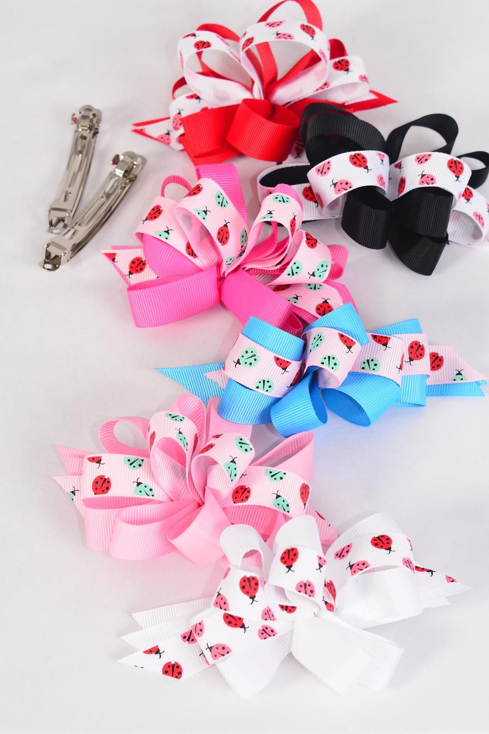 "Hair Bow Loop Bow Ladybugs Grosgrain Fabric Alligator Clip/DZ ** Alligator Clip** Bow Size-4.5""x 3.5"" Wide,2 of each Color Asst,Display Card & UPC Code,W Clear Box -"