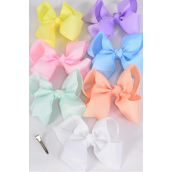"Hair Bow Jumbo Pastel 6""x 5"" Alligator Clip Grosgrain Bow-tie/DZ **Pastel** Size-6""x 5"",Alligator Clip,2 White,2 Baby Pink,2 Lavender,2 Blue,2 Yellow,1 Peach,1 Mint Green,7 Color Asst,Clip Strip & UPC Code"